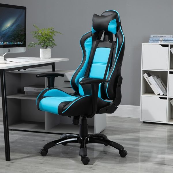 Vinsetto Gaming Chair High Back Ergonomic PU Leather Office Chair with Lumbar Support and Headrest Tilt and Adjustable Function Blue and Black Racing Computer Reclining Seat | Aosom Canada