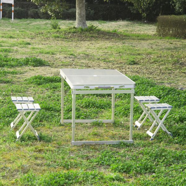 Outsunny 4' Portable Folding Picnic Table with 4 Seats Aluminum Height Adjustable Outdoor Garden Table and Chair Set, Silver