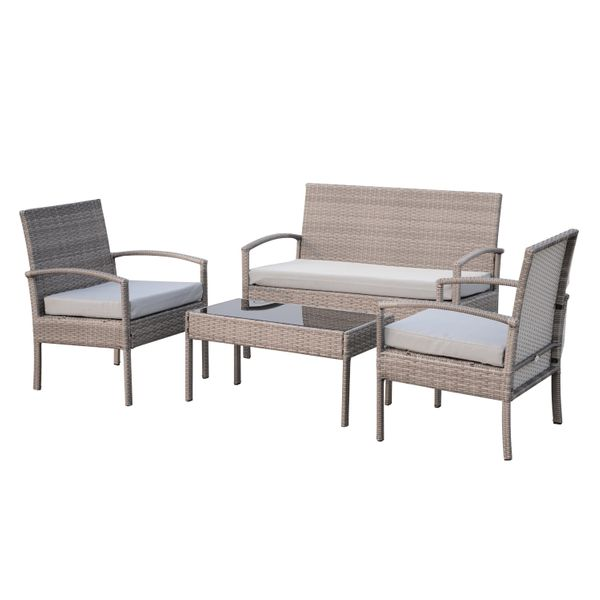 Outsunny 4pcs Outdoor Rattan Wicker Patio Conversation Set w/Cushion Garden Reclining Sofa Table Backyard Furniture All Weather Grey|Aosom Canada