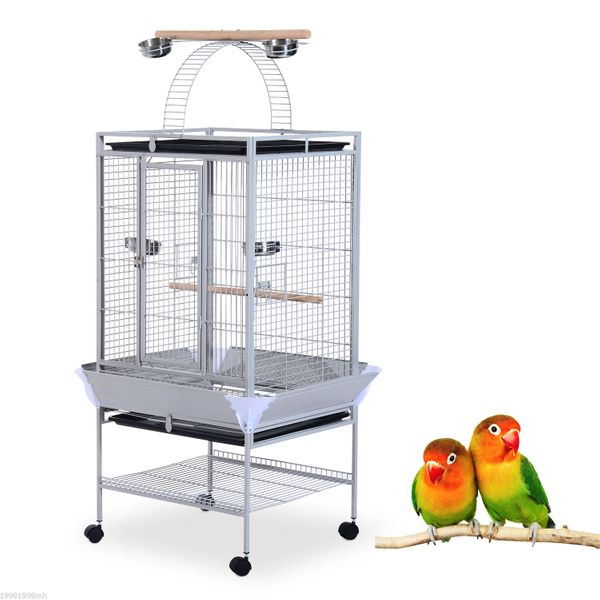 "PawHut Bird Cage and Playhouse for Parrot Canary Parakeet 63"" Large Stand Finch Feeder Play Top House Perch w/ Bowl and Wheels Silver 