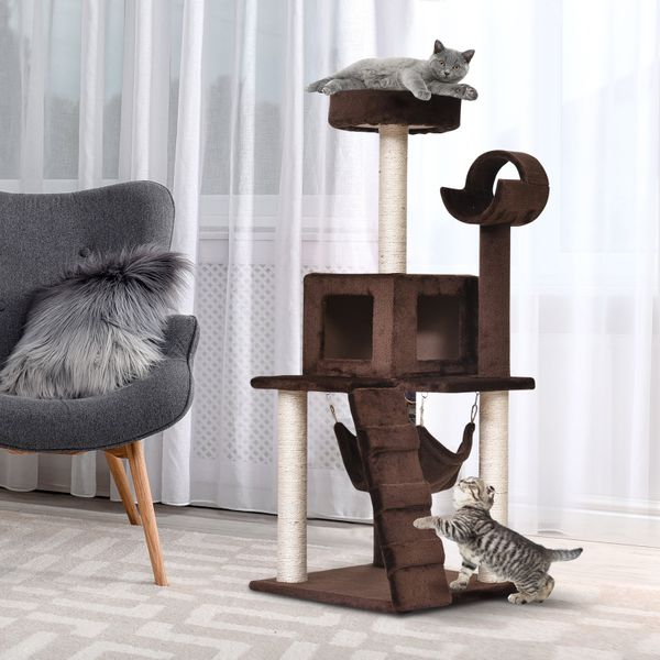 Pawhut Tower Condo Furniture Scratch Post Kitty Pet House Toy Furniture Exercise Lounge Brown | Aosom Canada
