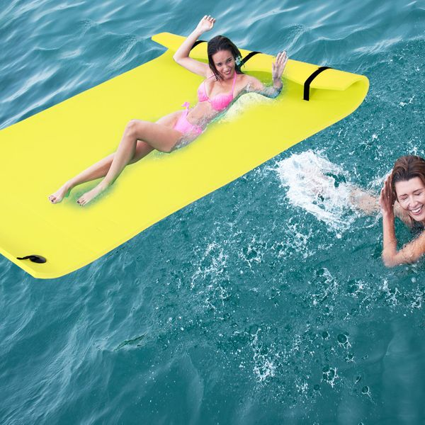 Soozier 16.4FT Floating Water Mat Float Pad Used in Lake Pool Water Beach Sea Ocean for Adults and Kids Yellow 9.8FT | Aosom Canada