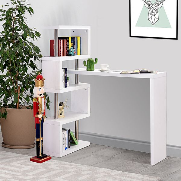 HOMCOM Modern Corner Rotating Combo L-Shaped Computer Desk with Shelves White | Aosom Canada