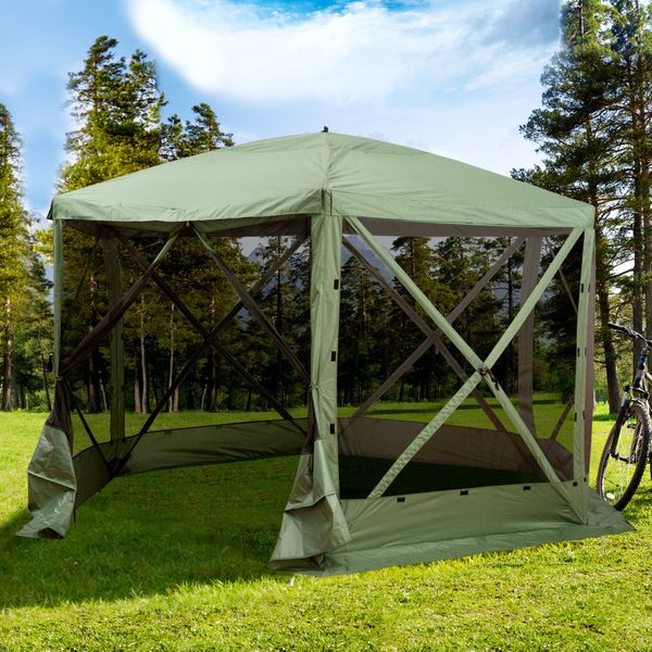 Outsunny 12' x 12' 6-Sided Pop Up Portable Hexagonal Hub Gazebo Green and Black 12' 12' | Aosom Canada