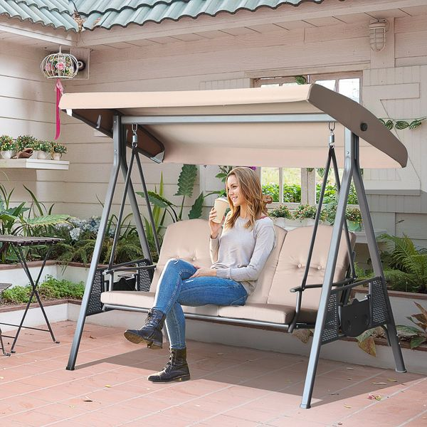 Outsunny 3-Person Outdoor Canopy Patio Cushioned Bench Patio Glider Swing Seat Steel