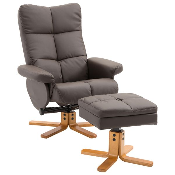 HOMCOM Swivel Lounge Chair Leather Recliner and Ottoman Set w/ Wood Base and Storage Footrest Living Room Furniture Seat Brown|Aosom Canada