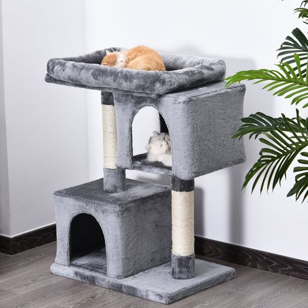 PawHut Multi-Level Cat Tree with Sisal-Covered Scratching Posts Large Perch|Aosom Canada