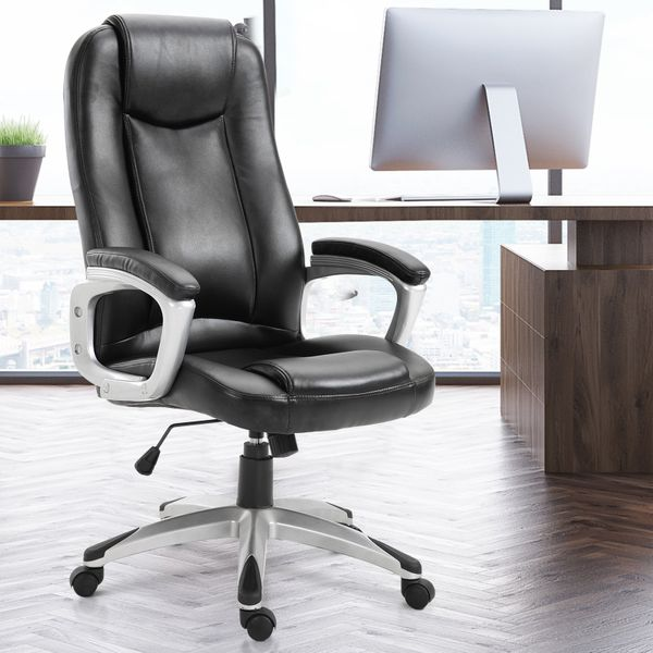 Vinsetto Executive PU Leather Rocking Office/ Gaming Chair Adjustable Padded Seat with Wheels Black | Aosom Canada