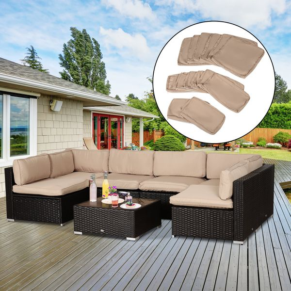 Outsunny Outdoor Patio Rattan Sofa Set Cushion Polyester Cover Replacement- No Cushion Included Replacement Only  Beige AOSOM.CA