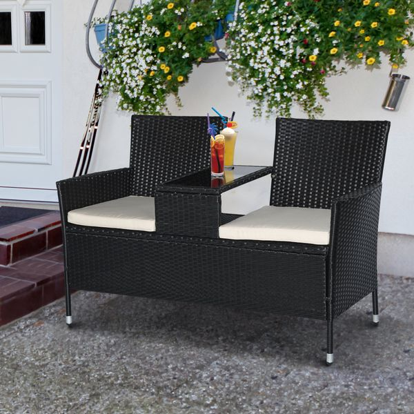 Outsunny Wicker Patio Chairs 2 Seat Rattan Bench with Tea Table All Weather Padded Backyard Garden Black Patio Armchair Outdoor|Aosom Canada