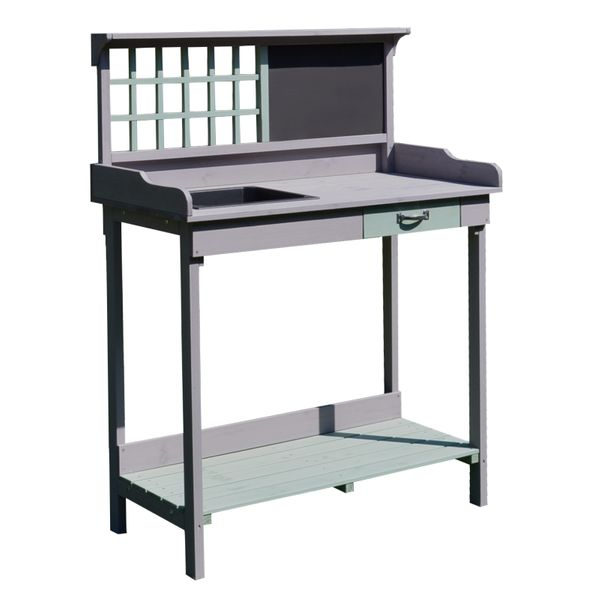 HOMCOM Garden Wooden Potting Table Outdoor Planting Workstation Bench w/ Storage Shelf Garage Tool Table Grey | Aosom Canada