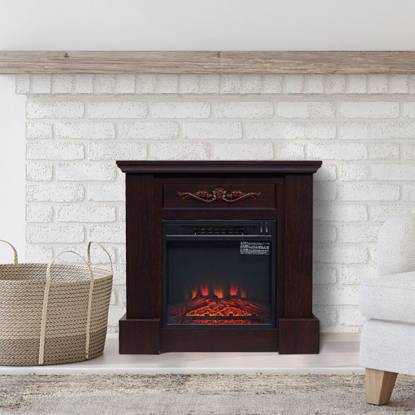 HOMCOM Electric Fireplace Freestanding Heater 1400w Artificial Flame Effect Dark Brown|AOSOM.CA