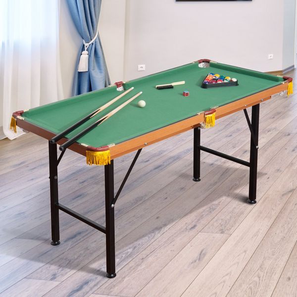 """Soozier 54.3"""" Mini Billiard Pool Table with All Accessories Portable Folding 4.5' Billiards Pool Set Indoor Kid Activity Home Game 