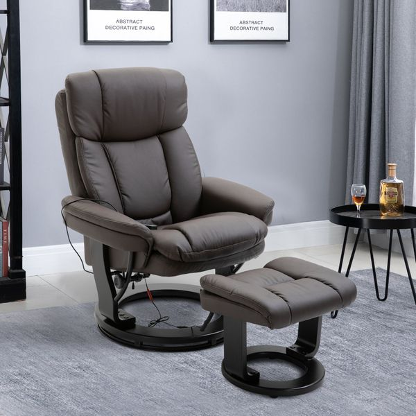 HOMCOM Massage Sofa Recliner Chair with Footrest 10 Vibration Point Faux PU Leather Brown|Aosom Canada