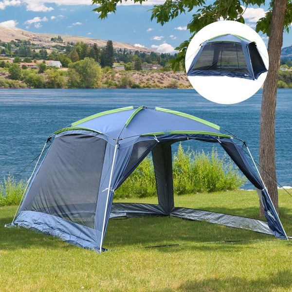 Outsunny Family Camping Tents 12x12x7ft 5-8 Persons Portable Outdoor Waterproof Shelter Hiking Pop Up Mesh Wall Water Resistant Canopy Aosom Canada