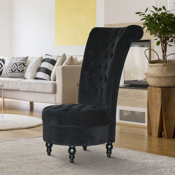 "HOMCOM 45"" Tufted High Back Velvet Accent Chair Living Room Soft Padded Couch Lounge Black 