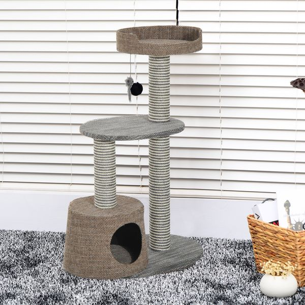 PawHut Scratching Cat Tree Post Climbing Kitten Pets Furniture with Toy, Brown