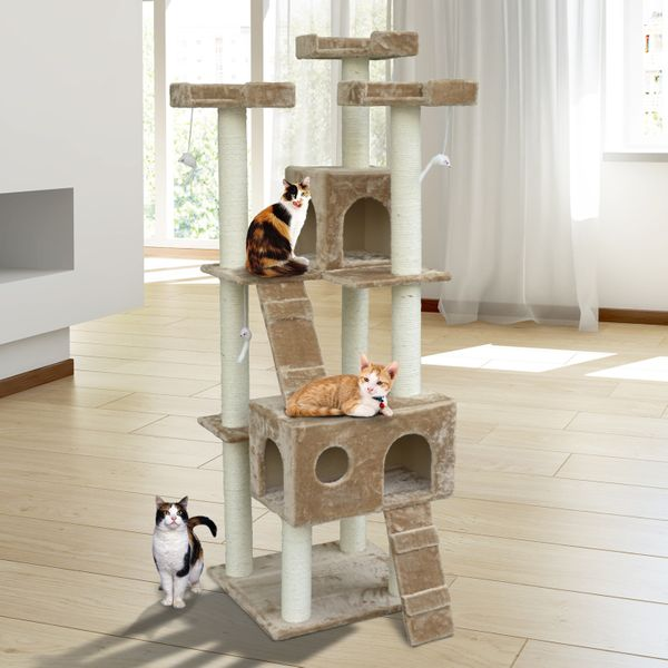 """PawHut 71"""" Deluxe Cat Tree Tower Condo Furniture Pet Tower House with Scratch Post 2 Condo Scratching 4 Tier, Beige