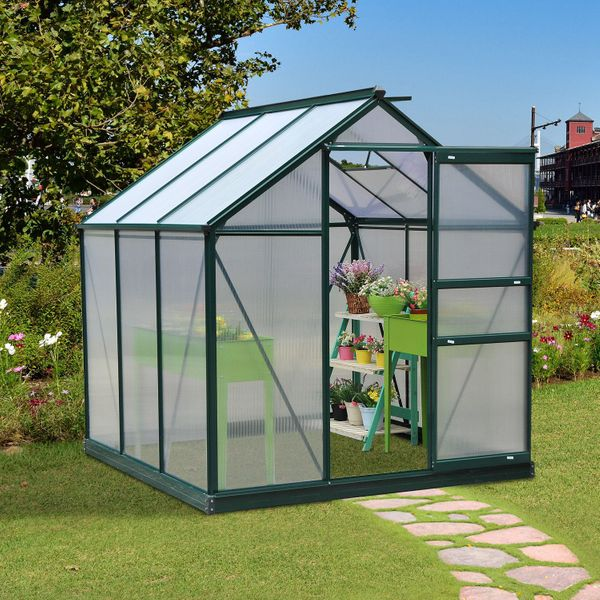 Outsunny 6'x6'x7' Walk-in Greenhouse Polycarbonate Panels Plants Flower Growth Portable Aluminum Aosom.ca