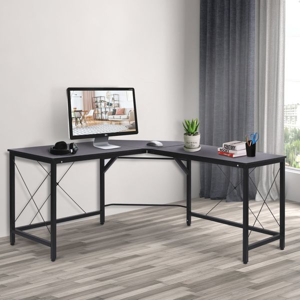 HOMCOM L-Shaped Computer Desk Office Wood Corner PC Workstation Large Gaming Desk Home Office Table 150x55x76cm Black | Aosom Canada