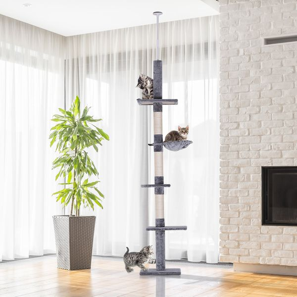 PawHut 8.5ft Cat Climbing Tree 5-Tier Kitty Activity Center Floor-to-Ceiling Cat Climber Toy with Scratching Post Play Rest Post Pet Furniture Grey | Aosom Canada