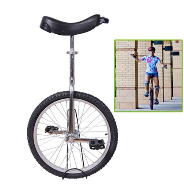 "Soozier  Professional Unicycle Uni-Cycle Cycling 20"" Chrome Plated Pneumatic Wheel with Adjustable Height Free Stand Monocycle Funny Acrobatics Bikes