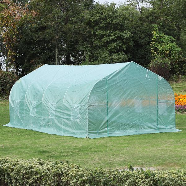 Outsunny 20x10x7ft Walk-in Greenhouse Tunnel Deluxe | Aosom Canada