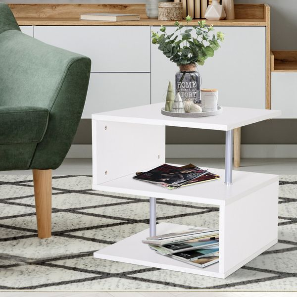 HOMCOM Wooden S Shape End Table 3 Tier Storage Shelves Organizer Living Room Side Table Desk White | Aosom Canada