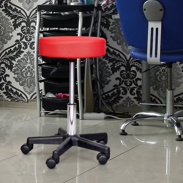 HomCom Swivel Salon Spa Stool with 3 Changeable Seat Covers Adjustable Rolling Tattoo Massage Chair Red/White/Black|Aosom Canada
