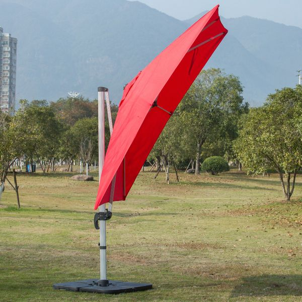 Outsunny 3 x 3m Patio Offset Parasol Umbrella Cantilever Hanging Sun Shade Canopy Shelter 360° Rotation with Stand 3M Rotate Red | Aosom Canada