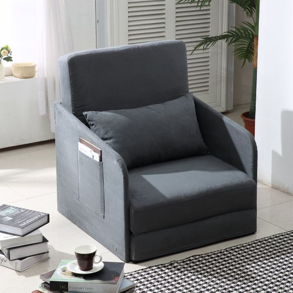 HOMCOM Single Sofa Bed Armchair Soft Floor Sleeper Lounger Futon Couch w/ Pillow and Pocket on Armrests for storing magazines and books Grey|AOSOM.CA