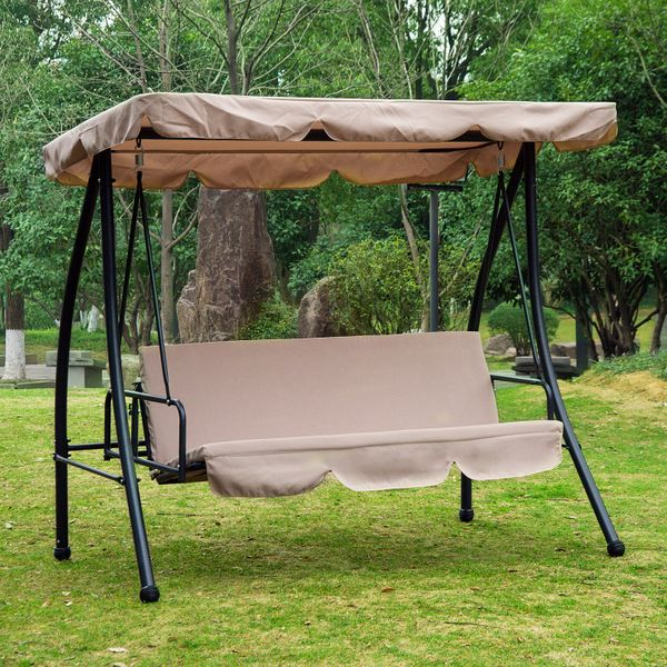 Outsunny Convertible Patio Swing Chair 3 Person Hammock Cushioned Portable Outdoor with Tilt Canopy Beige