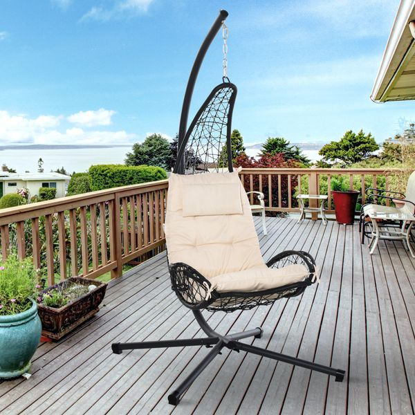 Outsunny Outdoor Patio Rattan Wicker, Outdoor Swing Chair With Stand Canada