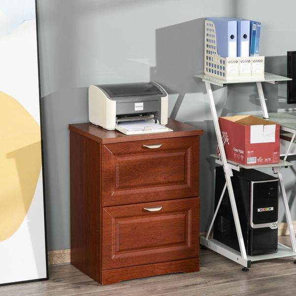 HOMCOM 2-Drawer Lateral File Chest Cabinet Pedestal Wooden Documents Storage for Study