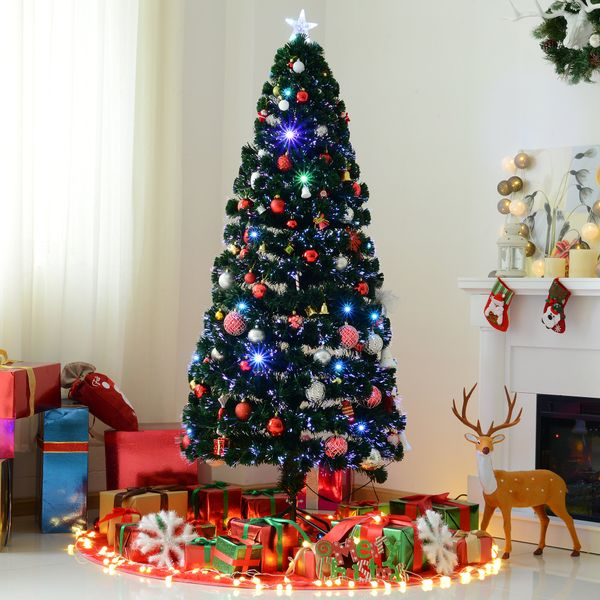 HOMCOM 6FT Pre-lit LED Artificial Christmas Tree Scattered Holiday Décor with Stand Green