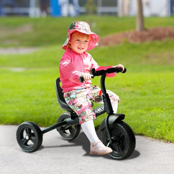 Qaba Baby Toddler Tricycle Trike Bike Steel Frame Ride On Activity Sports Black