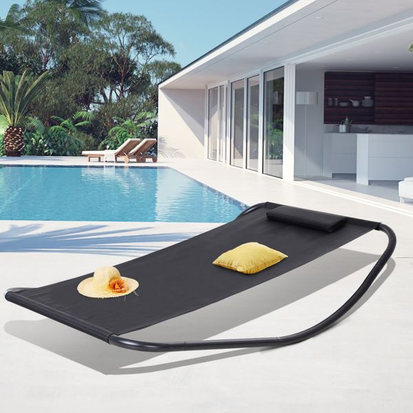 Outsunny Textilene Swing Bed Rocking Swing Day Bed Garden Outdoor Sun Lounger w/ Pillow Stand Black Mesh Sling | Aosom Canada
