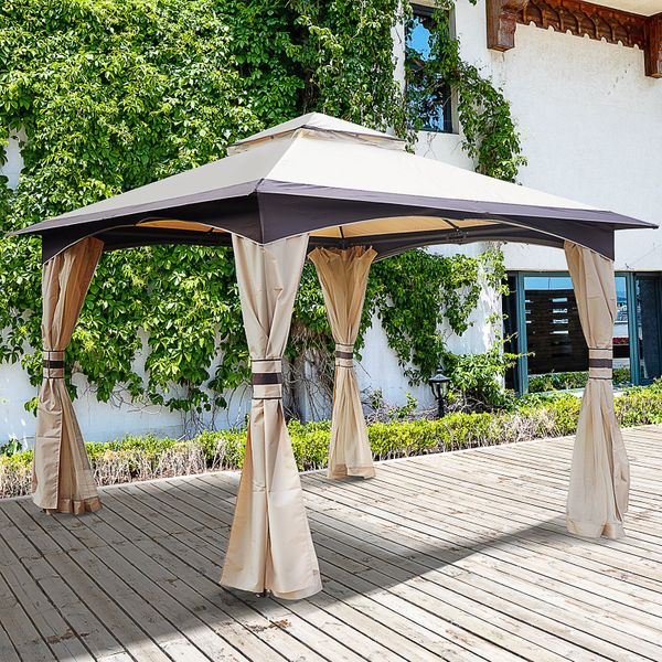 Outsunny 10' x 10' Soft Top Outdoor Gazebo Steel with Double Roof  Eaves Mesh Curtain Sidewalls Fabric Vented w/Mesh Sidewall   Aosom Canada