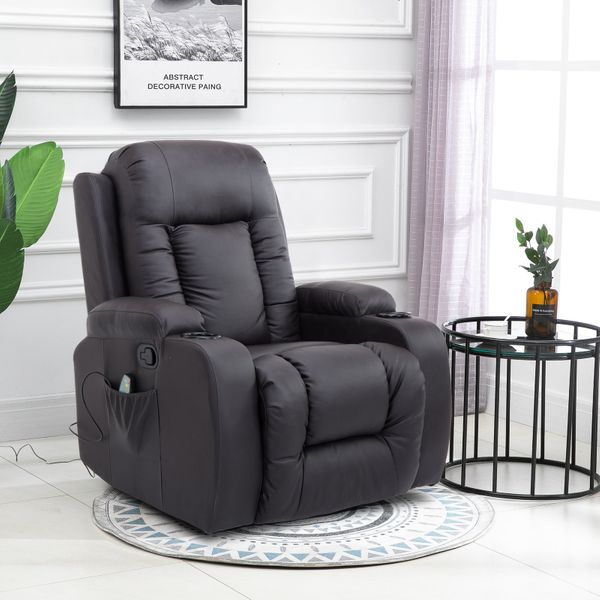 HOMCOM Faux Leather Back and Shoulder Massager Heated Vibrating Recliner Chair with Remote Brown|Aosom Canada