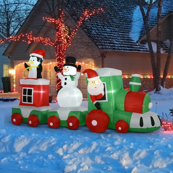 HOMCOM 11' Long Lighted Christmas Inflatable Train Santa Claus Indoor Outdoor