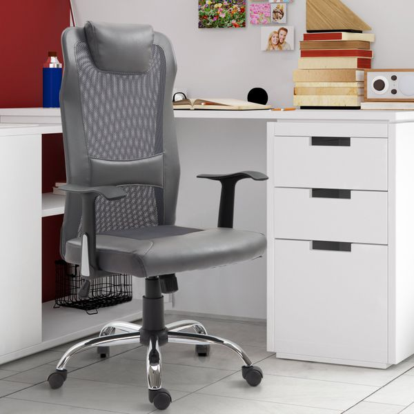 Vinsetto High Back Mesh Office Chair Padded Headrest Home Office Grey Aosom Canada