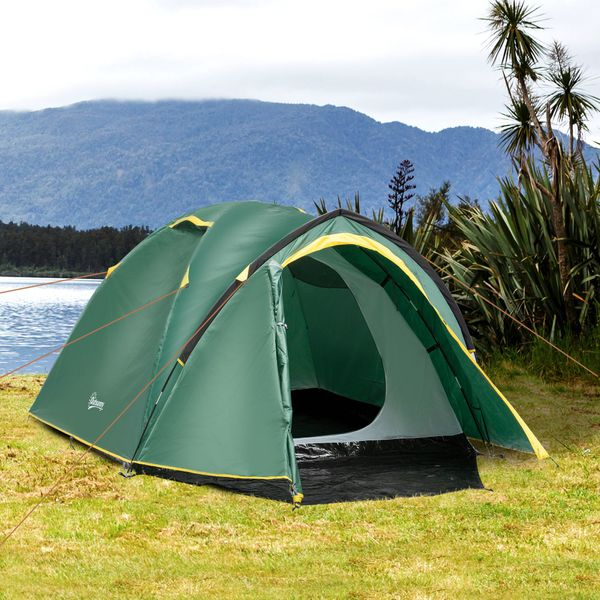 Outsunny Camping Dome Tent 2 Room for 3-4 Person with Weatherproof Vestibule Backpacking Tent Large Windows Lightweight for Fishing & Hiking Green Compact w/ Mesh Vents | Aosom Canada