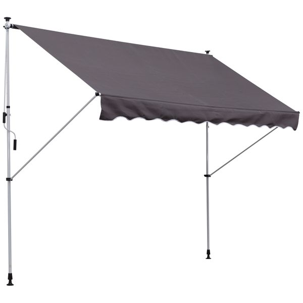 Outsunny 9.8'x4.9' Patio Adjustable Awning Retractable Shade UV Protective Grey Manual | Aosom Canada