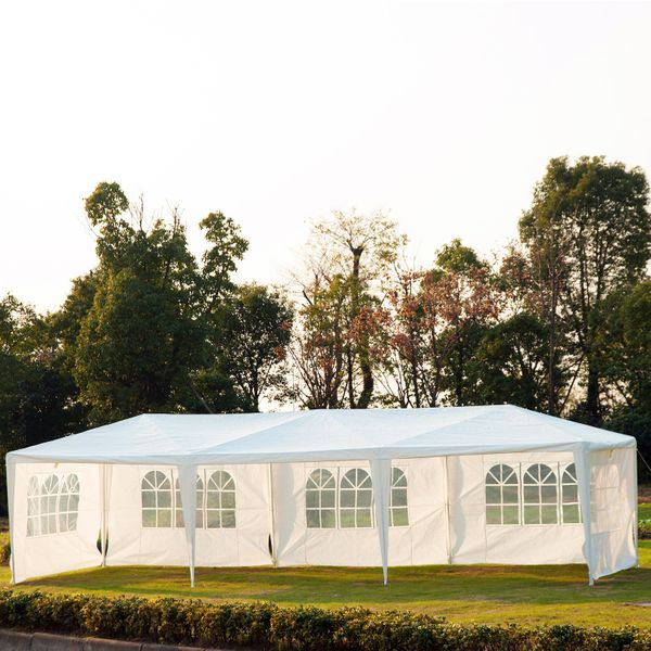 Outsunny 10x30ft Wedding Party Gazebo Tent Portable Folding Wedding Garden Canopy Event Shelter Outdoor Sunshade with 5 Removable Walls White | Aosom Canada