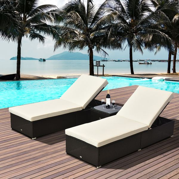 Outsunny 3pcs Rattan Wicker Chaise Lounge Set Outdoor Patio Lounger Chair Garden Furniture w/Side Table