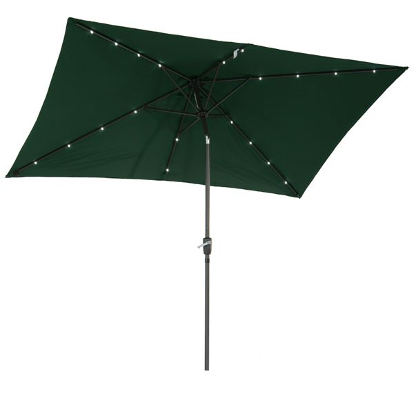 Outsunny 6.5x10ft Rectangle Solar Powered Tilt Patio Umbrella Aluminum Outdoor Market Parasol with LEDs Crank Dark Green|Aosom.ca