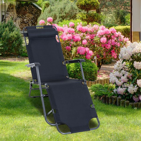 Outsunny Folding Chaise Lounge Chair Portable Adjustable Recliner Sun Lounger Outdoor Garden Reclining Seat with Pillow Black Aosom.ca