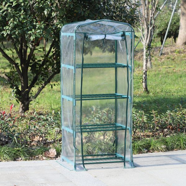 Outsunny Portable Mini Garden Greenhouse with 4 Tier Shelf Outdoor Plant Flower Warm House Plant Shed w/ Clear Cover | Aosom Canada