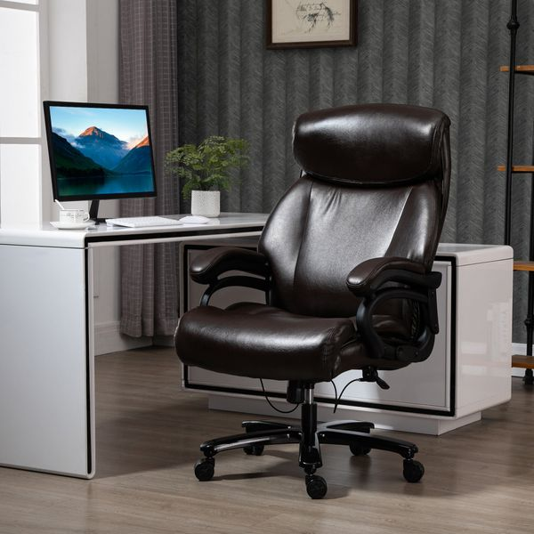 Vinsetto High Back Office Chair Adjustable Swivel Executive Chair PU Leather Ergonomic Computer Task Seat with Padded Armrests, Adjustable Height, Brown Chair, | Aosom Canada