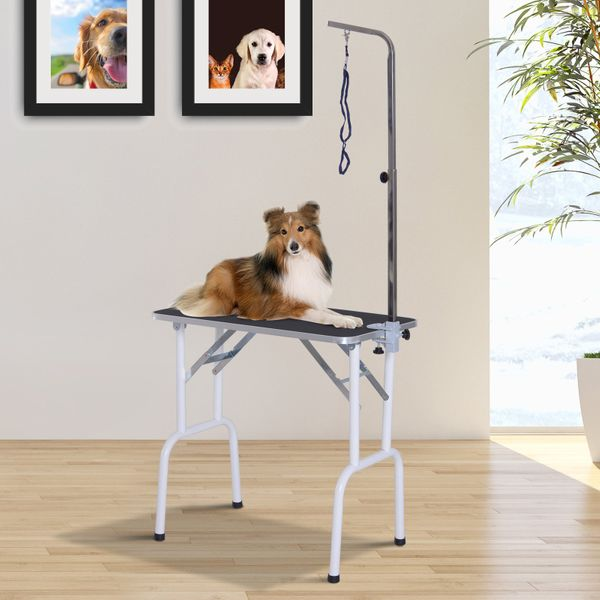 """PawHut 32"""" Heavy Duty Foldable Pet Grooming Table Professional Dog Cat Bathing Table Textured Surface w/ Adjustable Arm"""